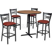 """42"""" Round Table & Criss-Cross Back Bar Ht Set - Figured Mahogany Laminate Table/Red Vinyl Chair"""