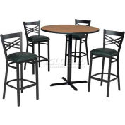 "42"" Round Table & Criss-Cross Back Bar Ht Set - Figured Mahogany Laminate Table/Green Vinyl Chair"