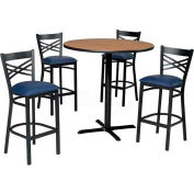 "42"" Round Table & Criss-Cross Back Bar Ht Set - Maple Fusion Laminate Table/Blue Vinyl Chair"