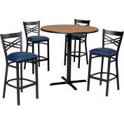"42"" Round Table & Criss-Cross Back Bar Ht Set - Maple Fusion Laminate Table/Blue Vinyl Chair"