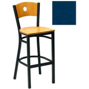 "Natural Circle-Back Bar Stool 17-1/2""W X 17""D X 42""H - Slate Blue - Pkg Qty 2"