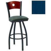 "Mahogany Circle-Back Swivel Bar Stool 17-1/2""W X 17""D X 42""H Slate Blue Package Count 2"