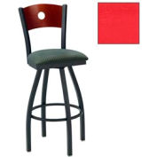 "Natural Circle-Back Swivel Bar Stool 17-1/2""W X 17""D X 42""H Red Package Count 2"