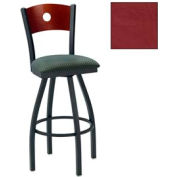"Natural Circle-Back Swivel Bar Stool 17-1/2""W X 17""D X 42""H - Burgundy - Pkg Qty 2"
