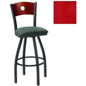 "Natural Circle-Back Swivel Bar Stool 17-1/2""W X 17""D X 42""H - Knockout Cranberry - Pkg Qty 2"