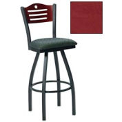"""Cherry 3 Slat-Back Swivel Bar Stool 17-1/2""""W X 17""""D X 42""""H Burgundy Package Count 2 by More Bar Stools"""