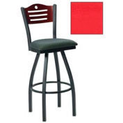 "Natural 3 Slat-Back Swivel Bar Stool 17-1/2""W X 17""D X 42""H Red Package Count 2"
