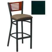"Mahogany 5 Slat-Back Bar Stool 17-1/2""W X 17""D X 42""H - Hunter Green - Pkg Qty 2"