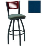 "Mahogany 5 Slat-Back Swivel Bar Stool 17-1/2""W X 17""D X 42""H Slate Blue Package Count 2"