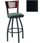 "Mahogany 5 Slat-Back Swivel Bar Stool 17-1/2""W X 17""D X 42""H Black Package Count 2"