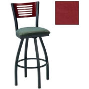 "Natural 5 Slat-Back Swivel Bar Stool 17-1/2""W X 17""D X 42""H Burgundy Package Count 2"