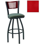 "Natural 5 Slat-Back Swivel Bar Stool 17-1/2""W X 17""D X 42""H - Knockout Cranberry - Pkg Qty 2"