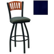"Mahogany 5 Wave-Back Swivel Bar Stool 17-1/2""W X 17""D X 42""H - Knockout Blue - Pkg Qty 2"
