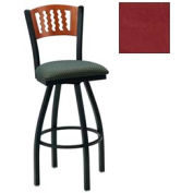 """Natural 5 Wave-Back Swivel Bar Stool 17-1/2""""W X 17""""D X 42""""H Burgundy Package Count 2"""