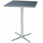 "Square Bar Table with X-Base 28""W x 28""D x 42""H - Chrome"