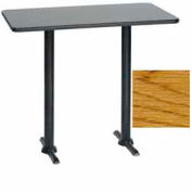 "Rectangular Bar Table with T-Base 30""W x 48""D x 42""H - Teak (Med Oak)"
