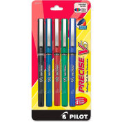 Pilot® Precise V5 Rollerball Pen, Non-Refillable, Extra Fine, 0.5mm, Assorted Ink, 5/Pack