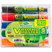Pilot® V Board Master Whiteboard Marker, Refillable, Medium Chisel, Assorted Ink, 5/Pack