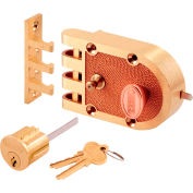 Primeline Products SE 14327 Bronze Slam Lock, Brass,Single Cylinder, Flat Strike, Box