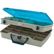 """Plano 115503 Doubled-Sided Two-Tier Compartment Box, 16-7/8""""L x 12""""W x 5""""H, Beige/Blue - Pkg Qty 2"""