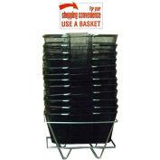 Mesh Shopping Basket Set (12 Black Baskets, Stand & Sign)