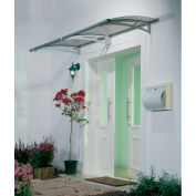 Palram, Aquila 2050 Door Awning, HG9511, 7'L x 3'W, Grey Panel, Aluminum Frame