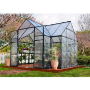 Palram, Chalet Greenhouse Kit, HG5400, 7'L x 11'W, Clear Panel, Charcoal Frame