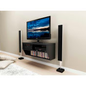 """Prepac Manufacturing Black 42"""" Wide Wall Mounted Av Console - Series 9 Designer Collection"""