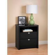 Prepac Manufacturing Black Series 9 Designer - Tall 2 Drawer Nightstand