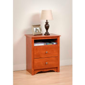 Prepac Manufacturing Cherry Monterey Tall 2 Drawer Nightstand with Open Shelf