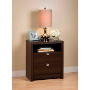 Prepac Manufacturing Espresso Series 9 Designer - Tall 2 Drawer Nightstand
