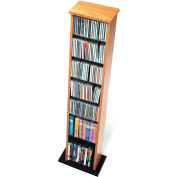 Prepac Manufacturing Oak & Black Slim Multimedia Storage Tower