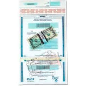 "PM® SecurIT® Dual Deposit Money Bags, 11"" x 15"", Clear, 100/Pack"