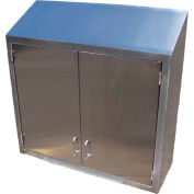 """Stainless Steel Wall Cabinet 48"""" x 36"""" x 13"""" Deep with Sloped Top & Hinged Solid Double Doors"""
