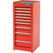 """Proto® 440SS Side Cabinet - 9 Drawer, Red, 15""""L X 35""""H X 18""""D"""