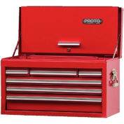 """Proto® 440SS 27"""" Top Chest with Drop Front - 6 Drawer, Red, 27""""L X 15""""H X 12""""D"""