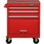 """Proto J442735-3RD 440SS 27"""" Roller Cabinet - 3 Drawer, Red, 27""""L X 35""""H X 18""""D"""