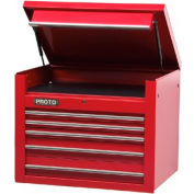 "Proto® 450HS 34"" Top Chest - 5 Drawer, Red, 34""L X 27""H X 25""D"