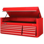 """Proto® 450HS 66"""" Top Chest - 10 Drawer, Red, 66""""L X 27""""H X 27""""D"""