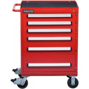 """Proto® 460 Series Roller Cabinet - 6 Drawer, Red, 30""""L X 42-1/2""""H X 21-3/8""""D"""