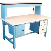 """Global Industrial™ Bench-In-A-Box Technical Workbench, Plastic Laminate Top, 60""""Wx30""""D, Blue"""