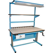 """Global Industrial™ Bench-In-A-Box Ergonomic Workbench, ESD Laminate Top, 60""""Wx30""""D, Blue"""