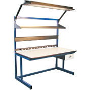 """Global Industrial™ Bench-In-A-Box Cantilever Workbench, Plastic Laminate Top, 60""""Wx30""""D, Blue"""