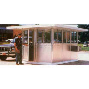 "5' x 3' Pre-Assembled Security Building, 24"" Overhang Roof - Gray, Two Sliding Doors"
