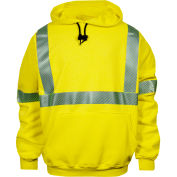 VIZABLE® FR Hi-Vis Pullover Hoodie, Class 3, Type R, M, Fluorescent Yellow