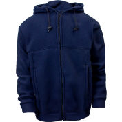 National Safety Apparel® Deluxe Zip Flame Resistant Fleece, 2XL, Navy, C23FL052XL