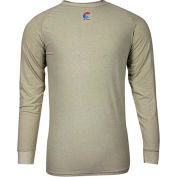 National Safety Apparel® FR Control 2.0 Long Sleeve T-Shirt, S, Khaki, C52JKSRLSSM