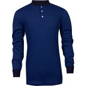 TECGEN CC™ Flame Resistant Long Sleeve Henley, 2XL, Royal Blue, C541NRBBSLS2XL