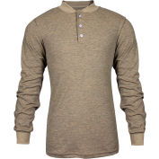 TECGEN CC™ Flame Resistant Long Sleeve Henley, 2XL, Tan, C541NTNBSLS2XL