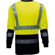 VIZABLE® FR Hi-Vis Hybrid Long Sleeve Tee - Type R, Class 3, 2XL, Yellow/Navy, C54HYLSHC32XL